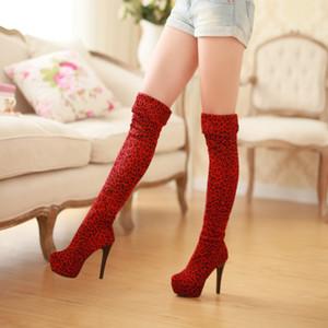 Сапоги матовый леопардовый принт сексуальная длина до колен плюс размер 40 41 42 ярдов обувь 33 высокий каблук 12,5 см платформа 4 см EUR размер 32-43