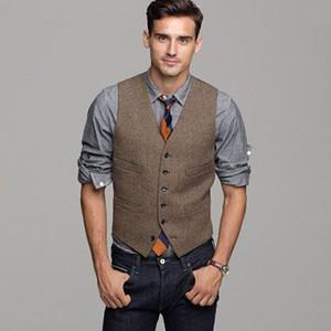 British Brown Wool Tweed Vest Men's Suit Slim fit Groom Vest Vintage Wedding Waistcoat UniqueMens Dress Vest Plus Size