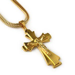 Hip Hop Rapper JESUS Christ Cross Pendants Necklace Men 18k Yellow Gold Plated Chain Male Christian Jewelry Chain