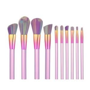 10 unids Pinceles de Maquillaje Transparente Set Rainbow Color de Gradiente de Pelo Suave Kit de Cosméticos Kit Kabuki Oval Maquillaje Herramienta de Pincel