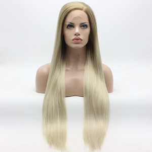 Iwona Hair Straight Extra Long Honey Blonde Root Light Blonde Ombre Wig 22 # 27/613 Mezza mano Legato resistente al calore parrucche sintetiche anteriori del merletto