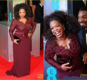 Oprah Winfrey New Designer Burgund Scheide Brautmutterkleider V-Ausschnitt Spitze Lange Ärmel Übergrößen Mutter der Bräutigam Kleider