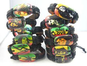 nouveaux 24pcs mélangés 12 styles différents Bob Marley Rasta Jamaïque Reggae pu cuir bracelets de mode de bijoux