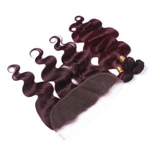 Vino rosso mongolo non trasformato 3 bundles con orecchio all'orecchio full lace frontale 13x4 body wave # 99J bordeaux rosso capelli umani tesse con frontali