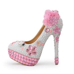 Salto Handmade rosa cristal de alta Bling Bling Rhinestone e branco pérola sapatos de noiva de salto alto Partido Prom Shoes