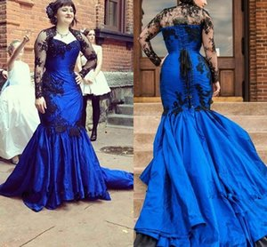 Blue Black Lace Mermaid Evening Gown With Sheer Long Sleeve Jacket 2019 Mother Dress Formal Prom Party celebrity Evening Dresses