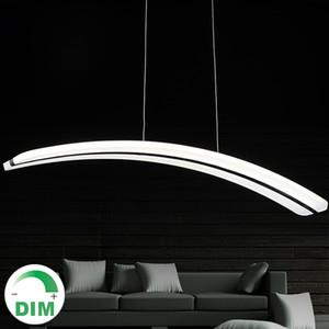 Pour salon salle à manger 110V 220V longue ligne PC PMMA courbe d'arc croissant de lune forme acrylique led suspension lampe dimmable