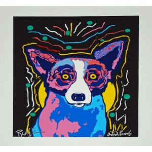 "High Quality genuine Pure Hand Painted Abstract Art oil Painting On Thick Canvas Multi size,George Rodrigue Blue Dog""It's Party Time"""