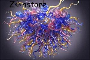 Italienische Feuerblume Murano Glasleuchter Hohe hängende Deckendekor-Kronleuchter Tiffany-Buntglas-Leuchter-Beleuchtung