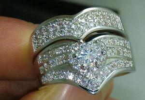 Großverkauf - Größe 6/7/8/9/10 Freies Verschiffen Luxuxschmucksachesatz 10kt weißes Gold gefülltes weißes Topaz-Hochzeits-Ring-gesetztes Geschenk