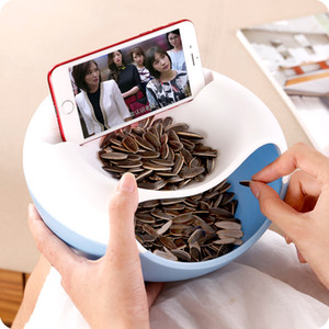 Creative Plastic Snack Food Plate with Double Layer Peel for Nuts Fruit Seeds Snack Bowl Phone Holder Storage