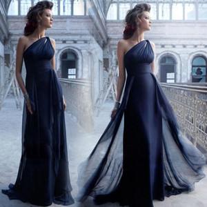 2016 Elegante de Alta Qualidade Um Ombro Sem Mangas Plissado A-Line Até O Chão Vestido de Noite Vestido Formal Vestido de Festa promDress