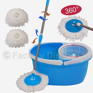 360 ° Rotating Head Easy Магия пола Швабра Ведро 2 Глава микрофибры Spinning Синий