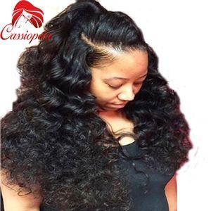 150% Densidad pesada 8A Grado Boby Ondulado Pelucas llenas del pelo humano del cordón Onda humana sin pegamento del pelo de la Virgen para las mujeres negras