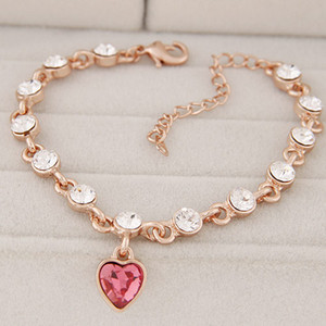 High End Refinement Korean Fashion Fine Jewelry Accessories Rose Czech Drilling Bubble Heart OL Gold Warp Charm Chain Bracelets For Women