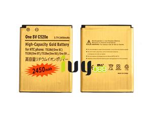 Batería de repuesto Gold 2pcs / lot 2450mAh BM60100 para HTC One SV C520e Desire 500 T528d (One SC) Baterías T528t (One ST) T528w (One SU)
