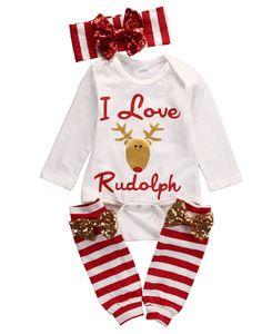 Mode weihnachten anzug kinder neugeborenes baby kleidung set langarm deer romper + beinwärmer + stirnband weihnachten outfits set babykleidung
