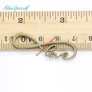 15 adet Antik Bronz Gümüş Kaplama Infinity Aşk Konnektörler Kolye Yapımı Bulguları Aksesuarlar DIY El Yapımı Zanaat 38x13mm