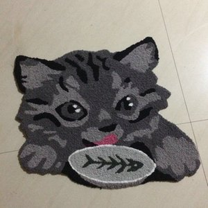 Fashion Hand Hooked Anima Mat Living Door Mats, Vivid Cat and Fish Embroidered Porch Doormat Floor Karpet Kitchen Rugs Gift