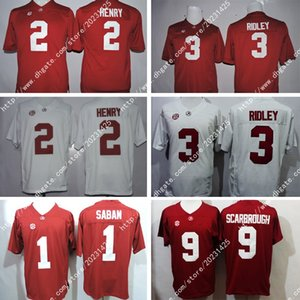 Alabama Crimson Tide 9 Bo Scarbrough # 1 Nick Saban 2 Derrick Henry # 3 Ridley America College Football Weiß Jersey-Stickerei-Logos genähtes