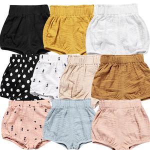 Bebé algodón lino pp pantalones cortos niños verano triangular pan pantalones cortos bebés niñas pp pantalones bloomers