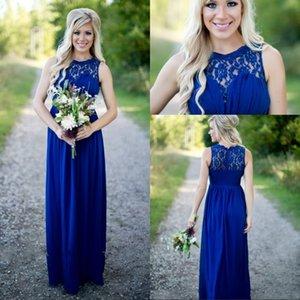 웨딩 게스트를위한 빈티지 로얄 블루 레이스 쉬폰 신부 들러리 드레스 긴 성인 공식적인 드레스 국가 스타일 들러리 드레스 2016