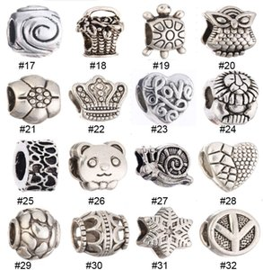 Liga Loose Beads Bohemian Grande Buraco Encantos Europeus DIY Jóias Animais Coruja Rodada Estilo Solta Pérolas Para Fazer Jóias 136 Estilos para Escolher