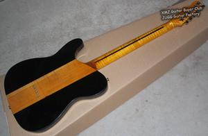 Rare Flame Maple Neck Merle Haggard Tuff Chien Tele TL 3 Couleur Sunburst Top Érable Quilté Guitare Électrique Matériel Or, Pickguard Blanc