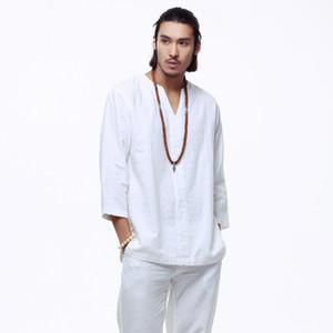 Al por mayor de Mens Pullover lino Camisas de algodón de tres cuartos de la manga para hombre de la calidad de China Camisas de algodón sólidos camisas sport TS-151