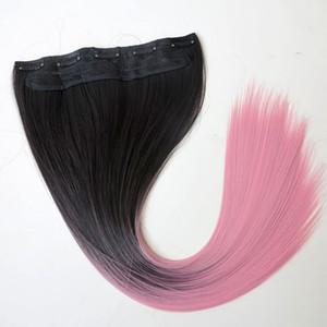 Синтетические волосы хвостик клип в хвостиках волоса 22inch 120G Ombre 1BPink два тон цвета расширений прямых волос