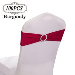 100 Chair Sashes Spandex / Wedding Bows Bandas de la silla de oro / Lycra Strectch Chair Cover Band con anillo de diamantes para la decoración del evento de la fiesta