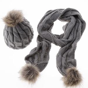 Gros-nouvelle arrivée femmes hiver chapeau foulard ensemble tricoté chapeau mode Lady chaud chapeaux Casual Cap coréen Style écharpe d'hiver ensemble pour les femmes