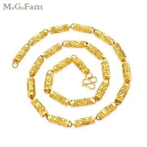 (210N) MGFam (60 cm * 8mm) Pure Gold Cor Seis Ângulo Cadeia Pesada Colares de Jóias Para Os Homens de Chumbo e Níquel Livre