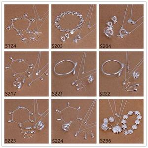 plata esterlina de las mujeres calientes de la venta de joyería conjuntos 6 establece un EMS61 porción mezclada estilo, plata de la manera 925 de la joyería del anillo del pendiente del collar de la pulsera