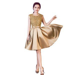 Scoop Boyun Dantel Saten Nedime Elbisesi Altın Burgundy 2020 Kısa Parti Elbise Diz Boyu Resmi Elbiseler