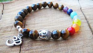 SN1095 7 Chakras Armband Balancing Naturstein Buddha Armband Om Bettelarmband Ckakras Körper Balance Meditieren Schmuck