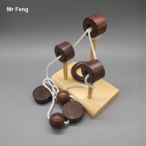 Kong Ming Ahşap Kilit Halat Puzzle Oyuncak Oyunu Çocuklar