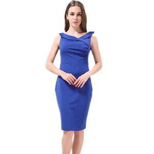Wholesale- HCJUAN : Free Shipping New Arrival 2016 Summer Dress Plus Size 4XL Pencil Dress Sleeveless Fashion Party Dresses Vestidos