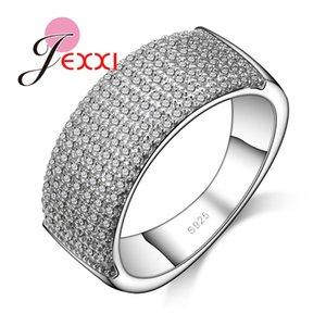 Оптовая продажа-JEXXI новое прибытие модный круглый стиль женщины стерлингового серебра 925 кольца ювелирные изделия мода женский обручальное кольцо подарка годовщины