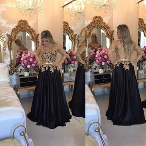 Gold Applqiue Black Dresses Floor Length Long Sleeves A-Line Vintage Evening Dresses 2018 Custom Made Evening Gown