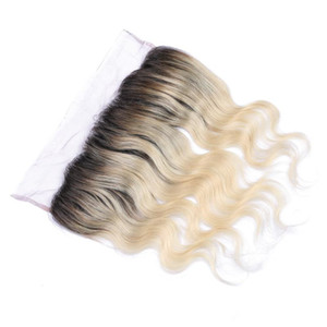 El cierre frontal del cordón brasileño superventas 1B / 613 Ombre Color Wave del cuerpo El pelo humano 13X4 Frontal del cordón del oído a oído con el pelo del bebé