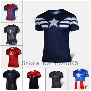 Venta al por mayor-2016 Moda Comic Marvel Deadpool camiseta vestuario de compresión Ropa deportiva Fitness Sport Camisetas Masculinas de secado rápido