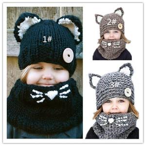 2017 качество новый Фокс ручной работы детская кошка шерсть шляпа шарф двойного назначения, детская зима теплая вязаная шапка Оптовая