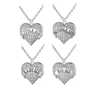 Drop Shipping Grand Sis Milieu Sis Petit Sis Bébé Sis Cristal Coeur Pendentif Collier Sœurs Bijoux Cadeau Boho Style
