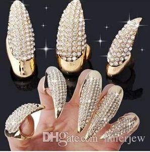 Ringe Kristall Fingernagel Ring Ziemlich Punk Stil Klaue Pfote Talon Fingernägel Daumenringe Gold und Schwarz Farbe 3 Größen erhältlich Punk Ringe
