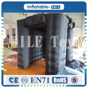 Free Shipping Fashionable Sector Black Inflatable Photo Booths With LED Lights 2.4*2.4*2.4m Photo Booth Kiosk For Sale