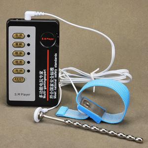 Elektroschock-Edelstahl Harnröhren-Plug + Penis-Ring-Pulse Physiotherapie Machtlosigkeit Urethralwand für Male A9