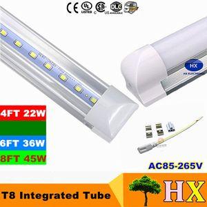 22W 2400 Lumens 45W 4800Lumens 4ft 8ft T8 Led Tubes Light Integrated 1200mm SMD 2835 Led Fluorescent Tubes Lights AC85-265V CE UL
