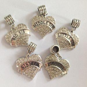 Envío libre Big Sis Middle Little Baby Sister Heart Crystal Dangle Beads Charm Fit Pandora Pulsera fabricación de joyas