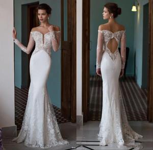 Berta robes de mariée sirène d'épaule plongeant illusion col V illusion manches longues en dentelle sexy dos ouvert trompette robes de mariée